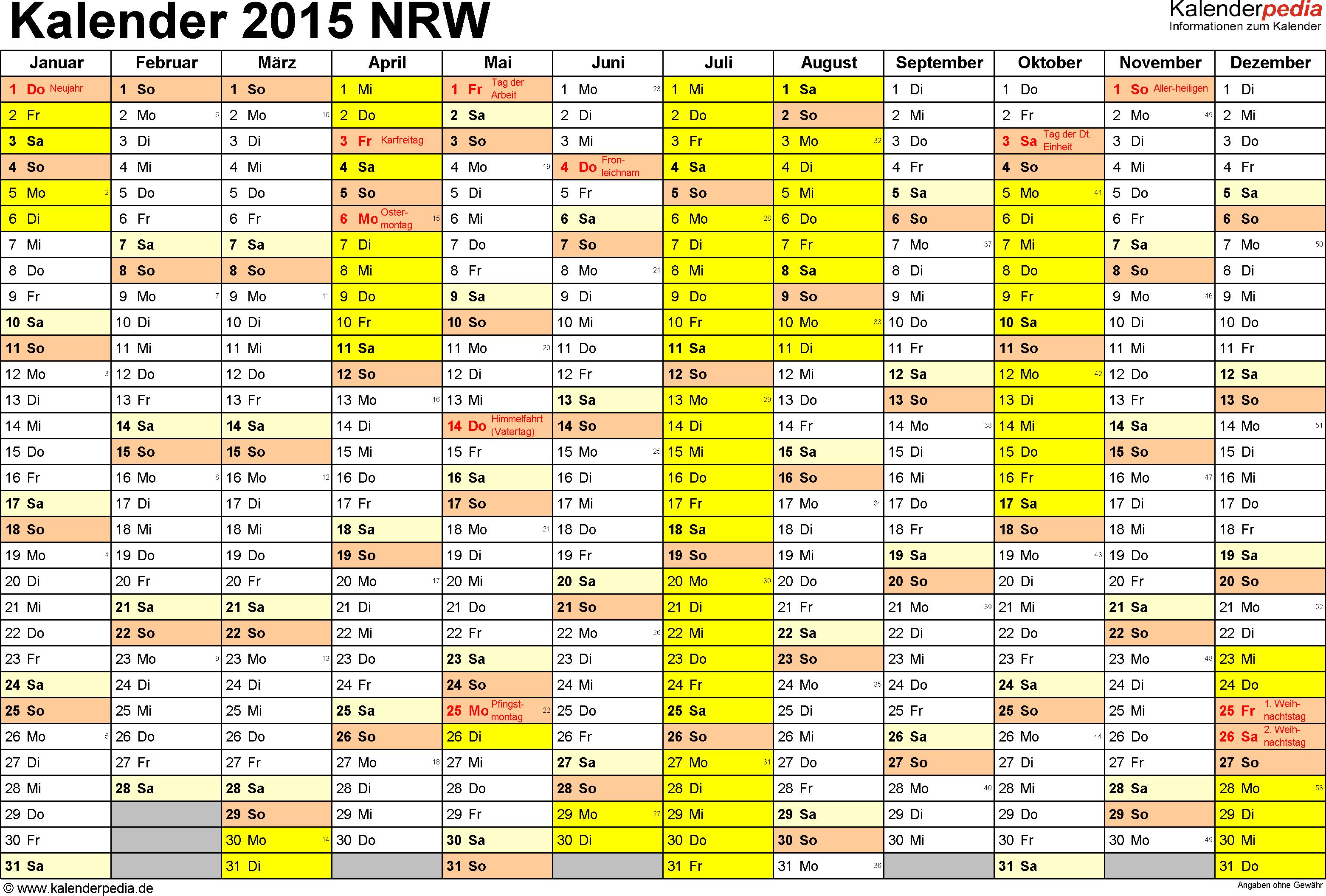 Vorlage 1: Kalender 2015 für Nordrhein-Westfalen (NRW) als PDF-Vorlage (Querformat, 1 Seite)