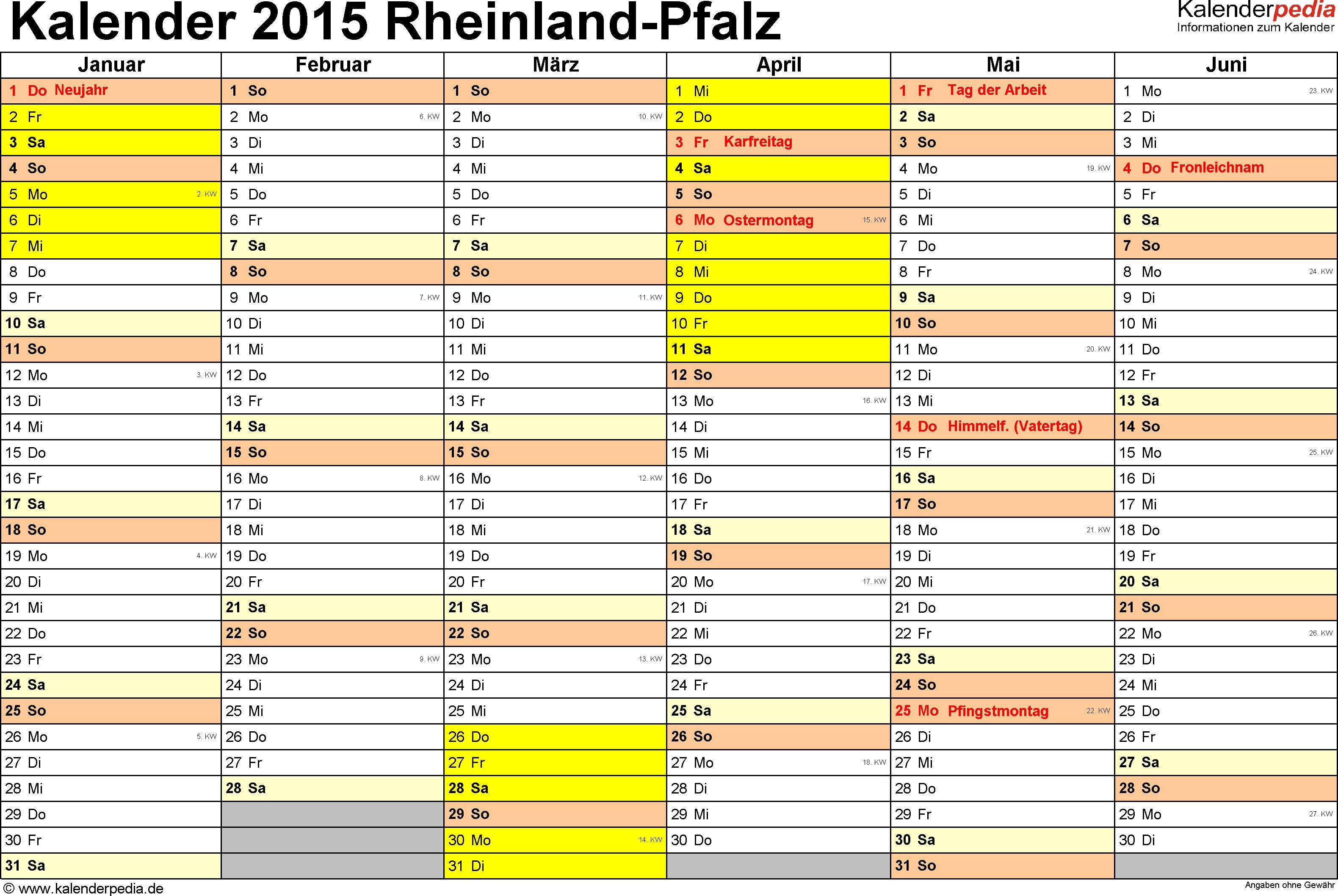 Vorlage 2: Kalender 2015 für Rheinland-Pfalz als Excel-Vorlage (Querformat, 2 Seiten)