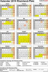 Vorlage 4: Kalender Rheinland-Pfalz 2015 als Excel-Vorlage (Hochformat)