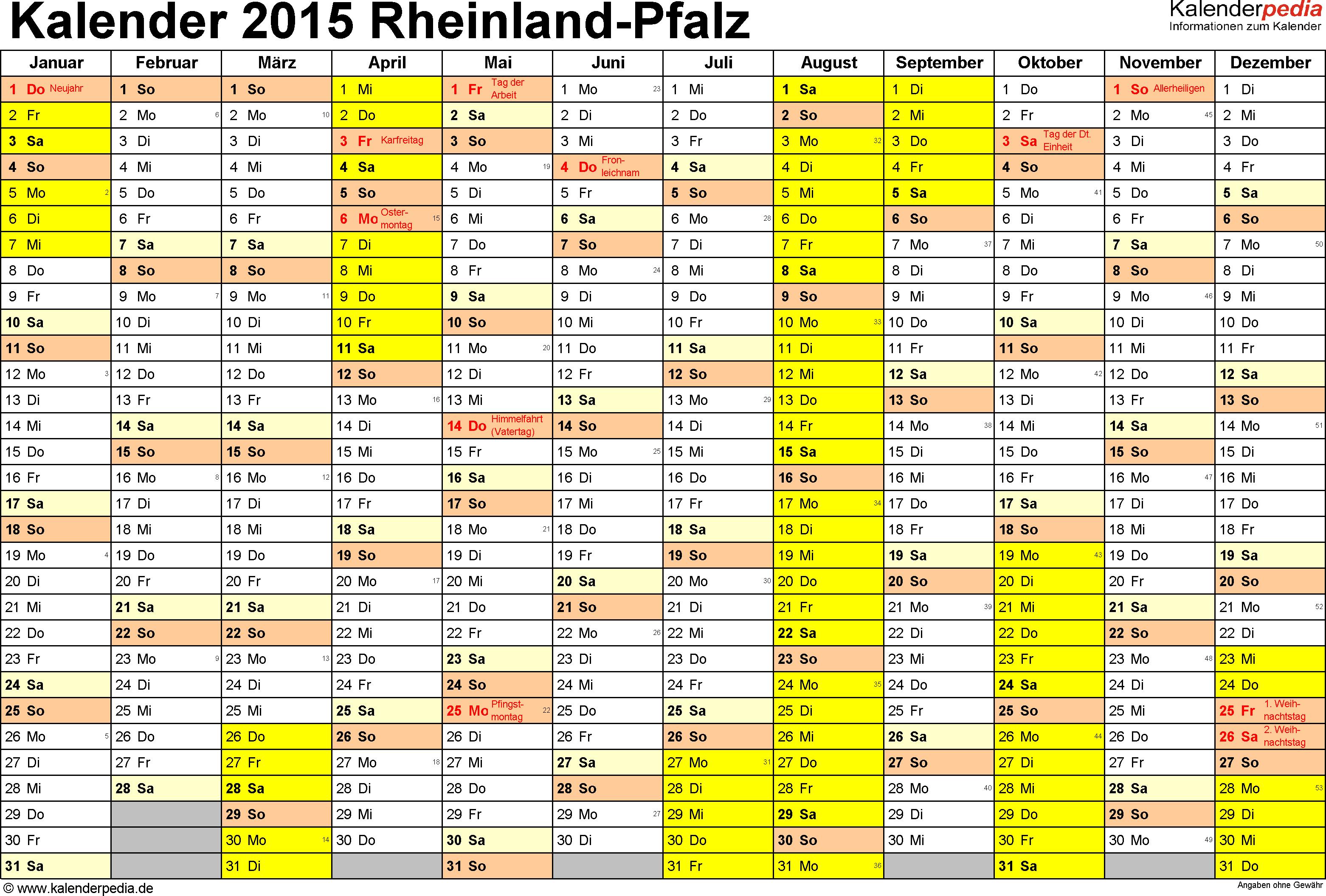 Vorlage 1: Kalender 2015 für Rheinland-Pfalz als Excel-Vorlage (Querformat, 1 Seite)