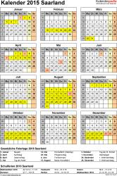 Vorlage 4: Kalender Saarland 2015 als Excel-Vorlage (Hochformat)
