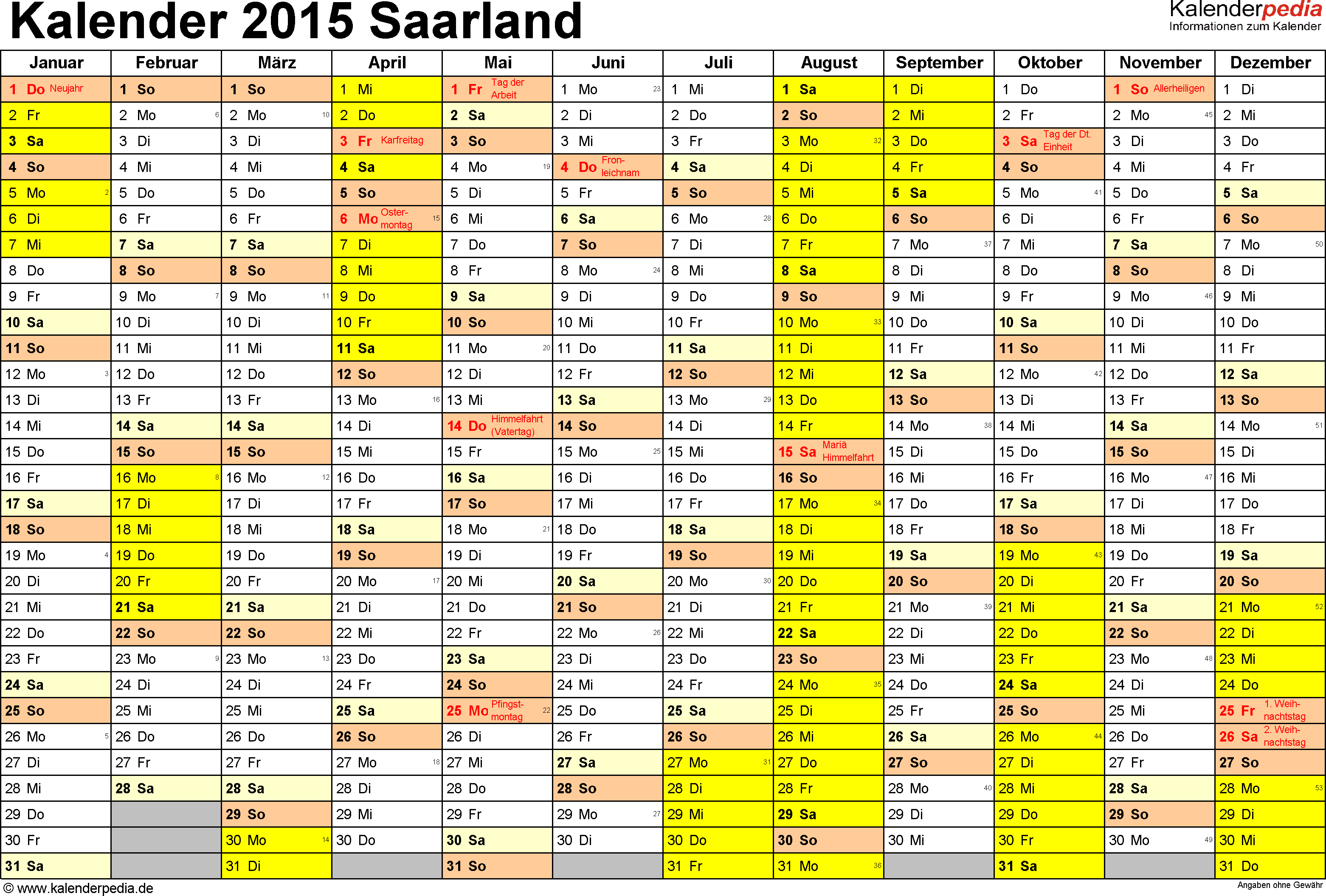 Vorlage 1: Kalender 2015 für Saarland als Excel-Vorlagen (Querformat, 1 Seite)