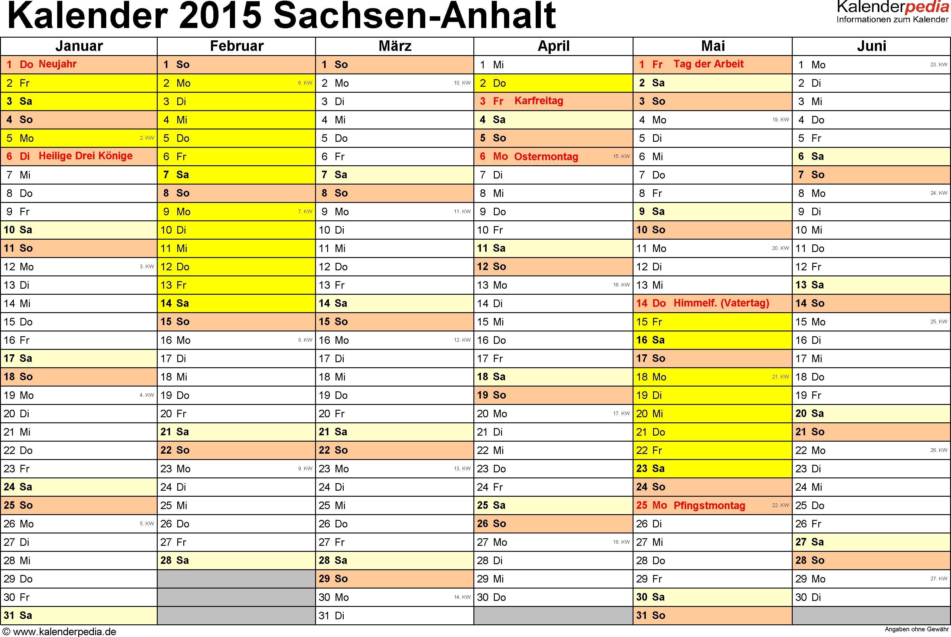 Vorlage 2: Kalender 2015 für Sachsen-Anhalt als Excel-Vorlage (Querformat, 2 Seiten)