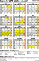 Vorlage 4: Kalender Sachsen-Anhalt 2015 als Excel-Vorlage (Hochformat)