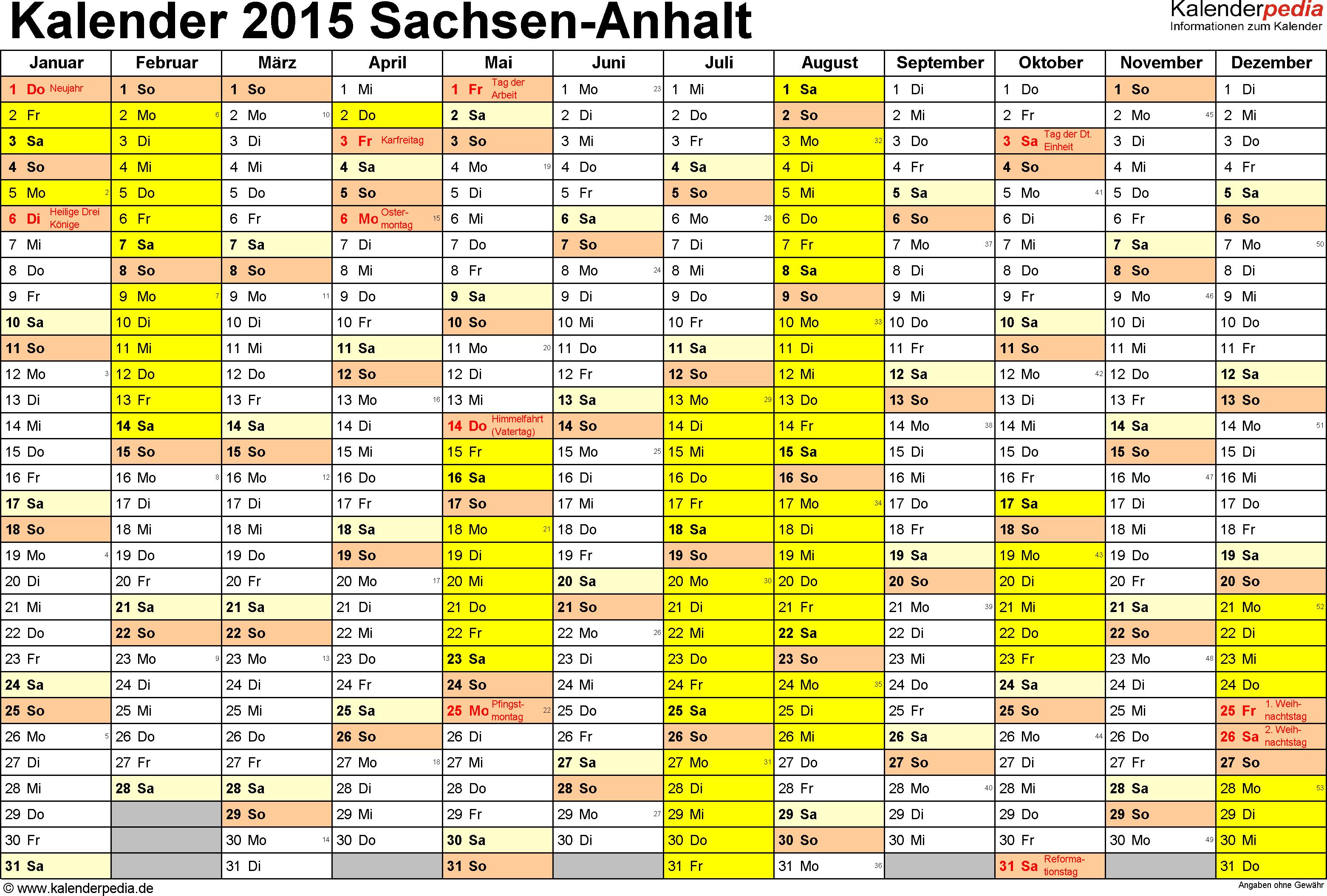 Vorlage 1: Kalender 2015 für Sachsen-Anhalt als Excel-Vorlagen (Querformat, 1 Seite)