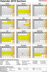 Vorlage 4: Kalender Sachsen 2015 als Excel-Vorlage (Hochformat)