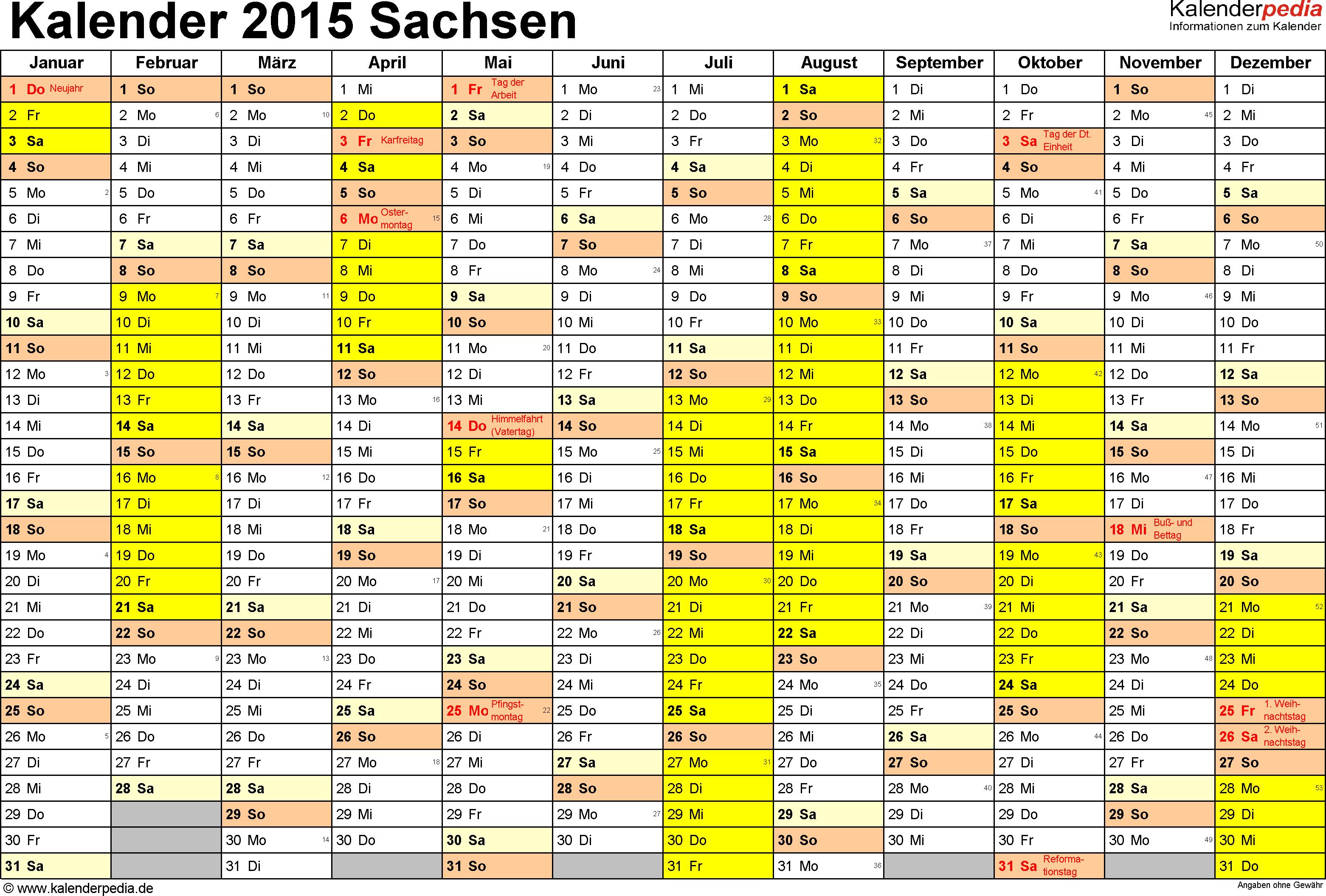 Vorlage 1: Kalender 2015 für Sachsen als PDF-Vorlagen (Querformat, 1 Seite)