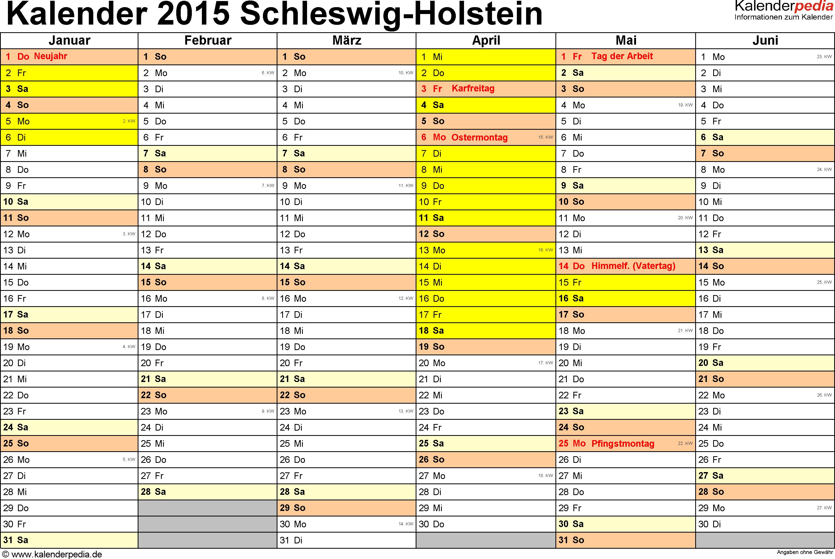 Vorlage 2: Kalender 2015 für Schleswig-Holstein als Excel-Vorlage (Querformat, 2 Seiten)
