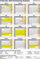 Vorlage 4: Kalender Schleswig-Holstein 2015 als Excel-Vorlage (Hochformat)
