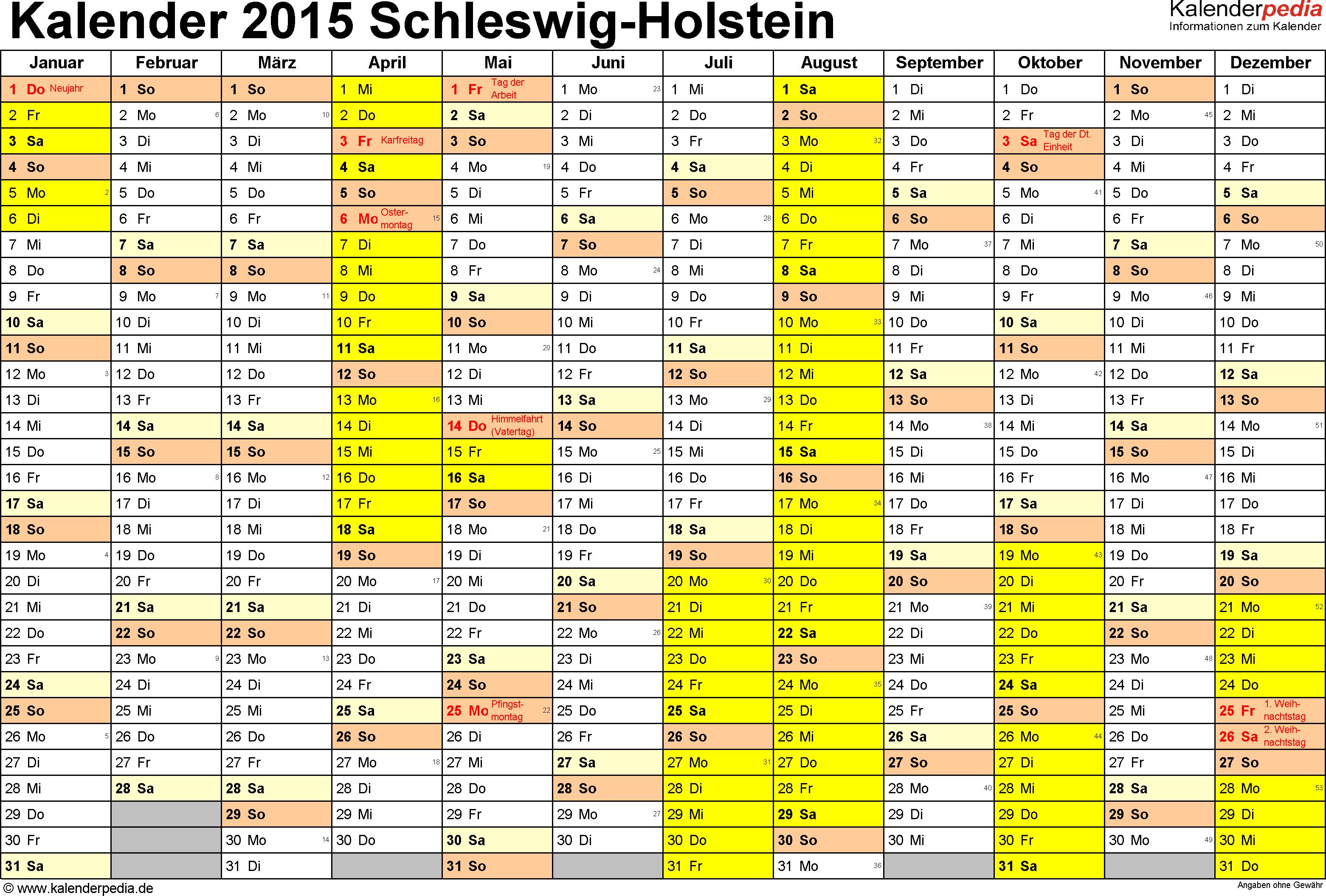 Vorlage 1: Kalender 2015 für Schleswig-Holstein als Excel-Vorlagen (Querformat, 1 Seite)