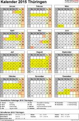 Vorlage 4: Kalender Thüringen 2015 als Word-Vorlage (Hochformat)