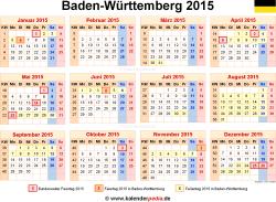 Kalender 2015 Baden-Württemberg