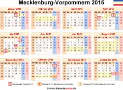 Kalender 2015 Mecklenburg-Vorpommern: Ferien, Feiertage, Word-Vorlagen