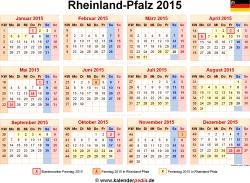 Kalender 2015 Rheinland-Pfalz