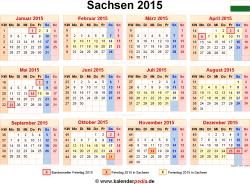 Kalender 2015 Sachsen