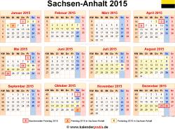 Kalender 2015 Sachsen-Anhalt