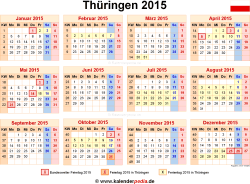 Kalender 2015 Thüringen: Ferien, Feiertage, Word-Vorlagen