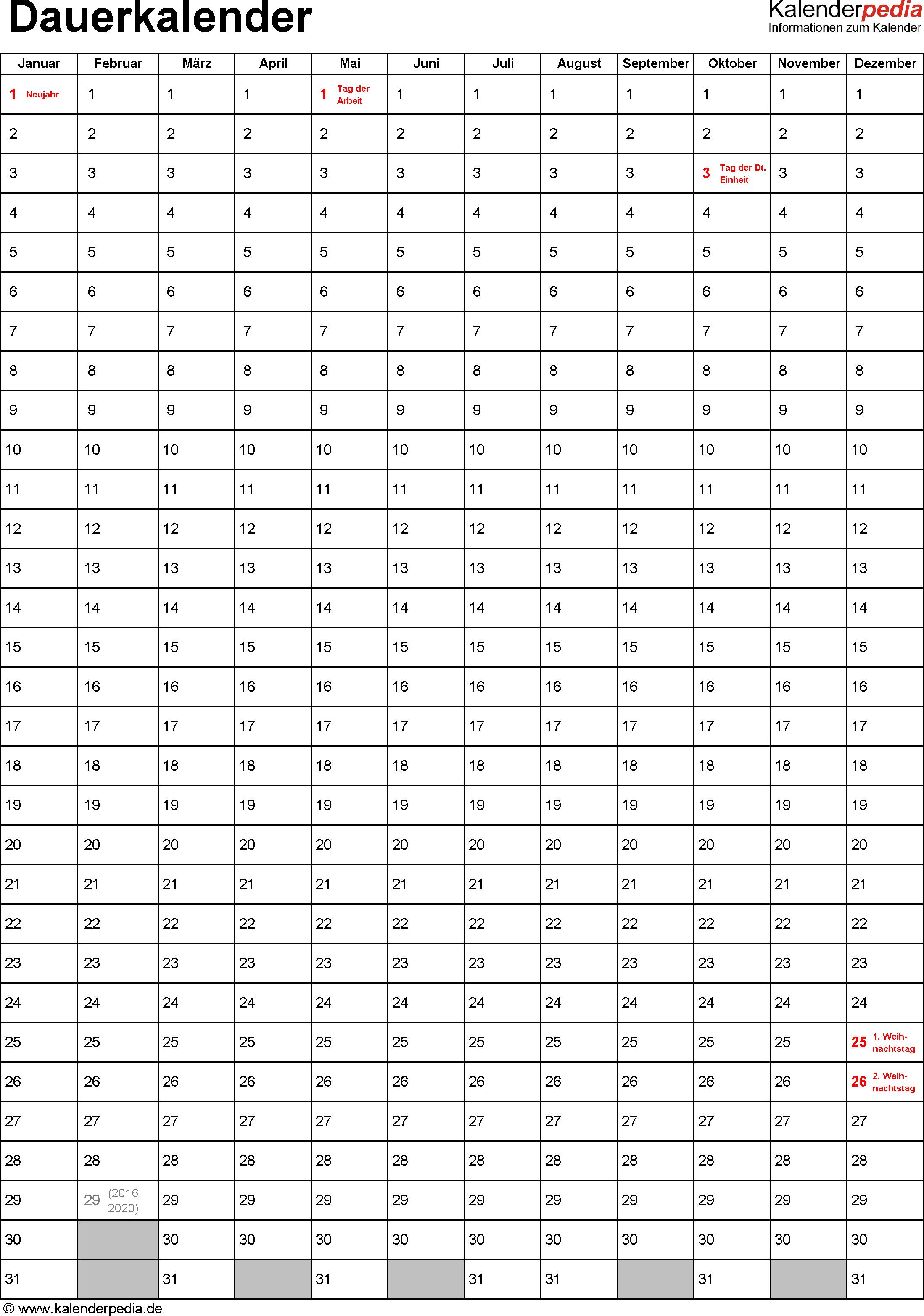 dauerkalender immerw228hrender kalender in pdf zum ausdrucken