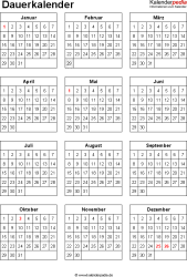 Vorlage 10: Word-Vorlage für Dauerkalender im Hochformat, 1 Seite, DIN A4