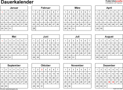 dauerkalender immerw hrender kalender in pdf zum ausdrucken. Black Bedroom Furniture Sets. Home Design Ideas