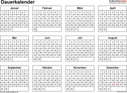 Vorlage 5: Word-Vorlage für Dauerkalender im Querformat, 1 Seite, DIN A4