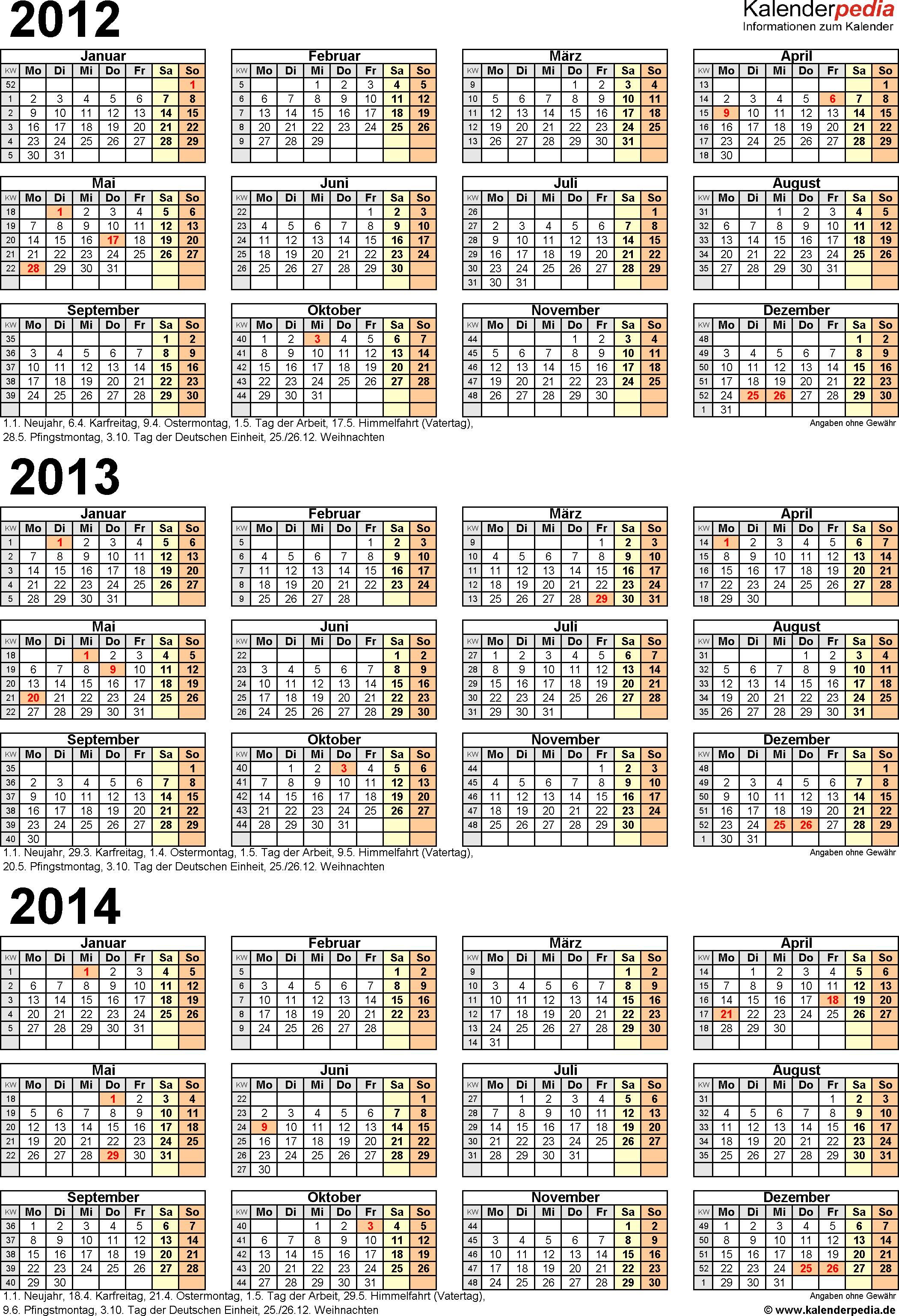 PDF-Vorlage für Dreijahreskalender 2012-2014 (Hochformat, 1 Seite)