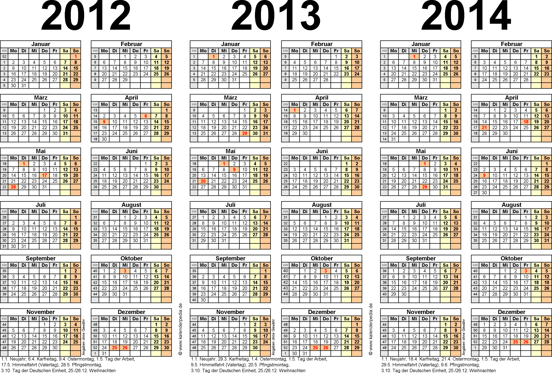 Excel-Vorlage für Dreijahreskalender 2012-2014 (Querformat, 1 Seite)