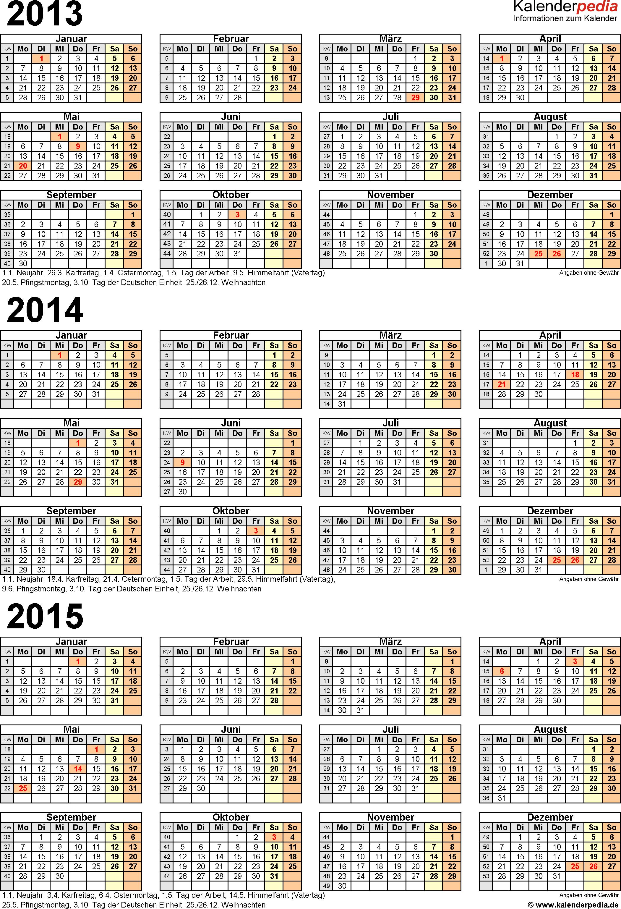 Excel-Vorlage für Dreijahreskalender 2013-2015 (Hochformat, 1 Seite)
