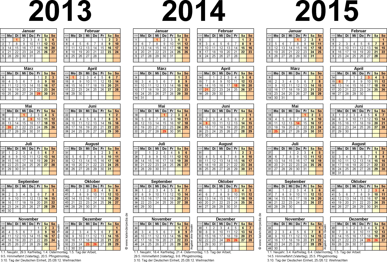 PDF-Vorlage für Dreijahreskalender 2013-2015 (Querformat, 1 Seite)