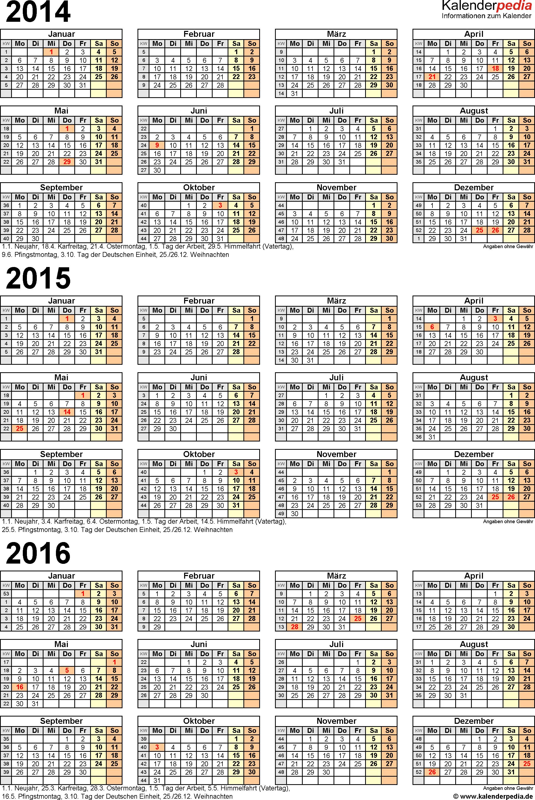 Excel-Vorlage für Dreijahreskalender 2014-2016 (Hochformat, 1 Seite)