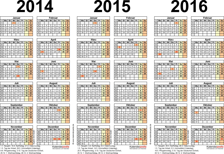 Excel-Vorlage für Dreijahreskalender 2014-2016 (Querformat, 1 Seite)