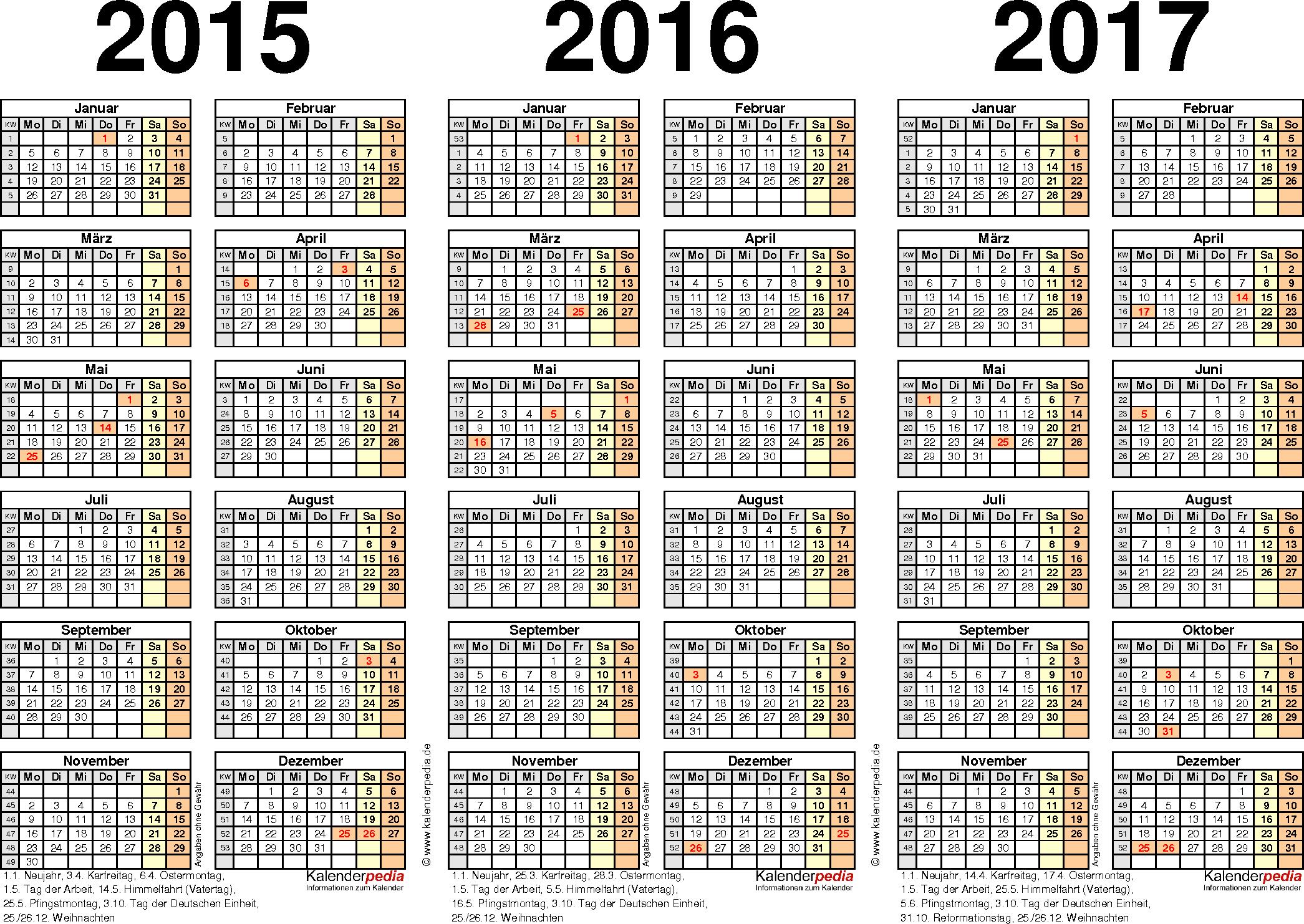 Excel-Vorlage für Dreijahreskalender 2015-2017 (Querformat, 1 Seite)