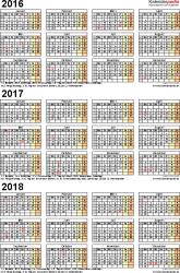 PDF-Vorlage für Dreijahreskalender 2016/2017/2018 (Hochformat, 1 Seite)