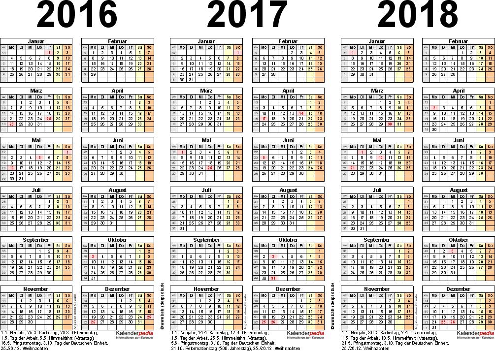 PDF-Vorlage für Dreijahreskalender 2016-2018 (Querformat, 1 Seite)