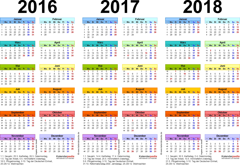PDF-Vorlage für Dreijahreskalender 2016-2018 (Querformat, 1 Seite, in Farbe)
