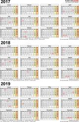 Excel-Vorlage für Dreijahreskalender 2017-2019 (Hochformat, 1 Seite)