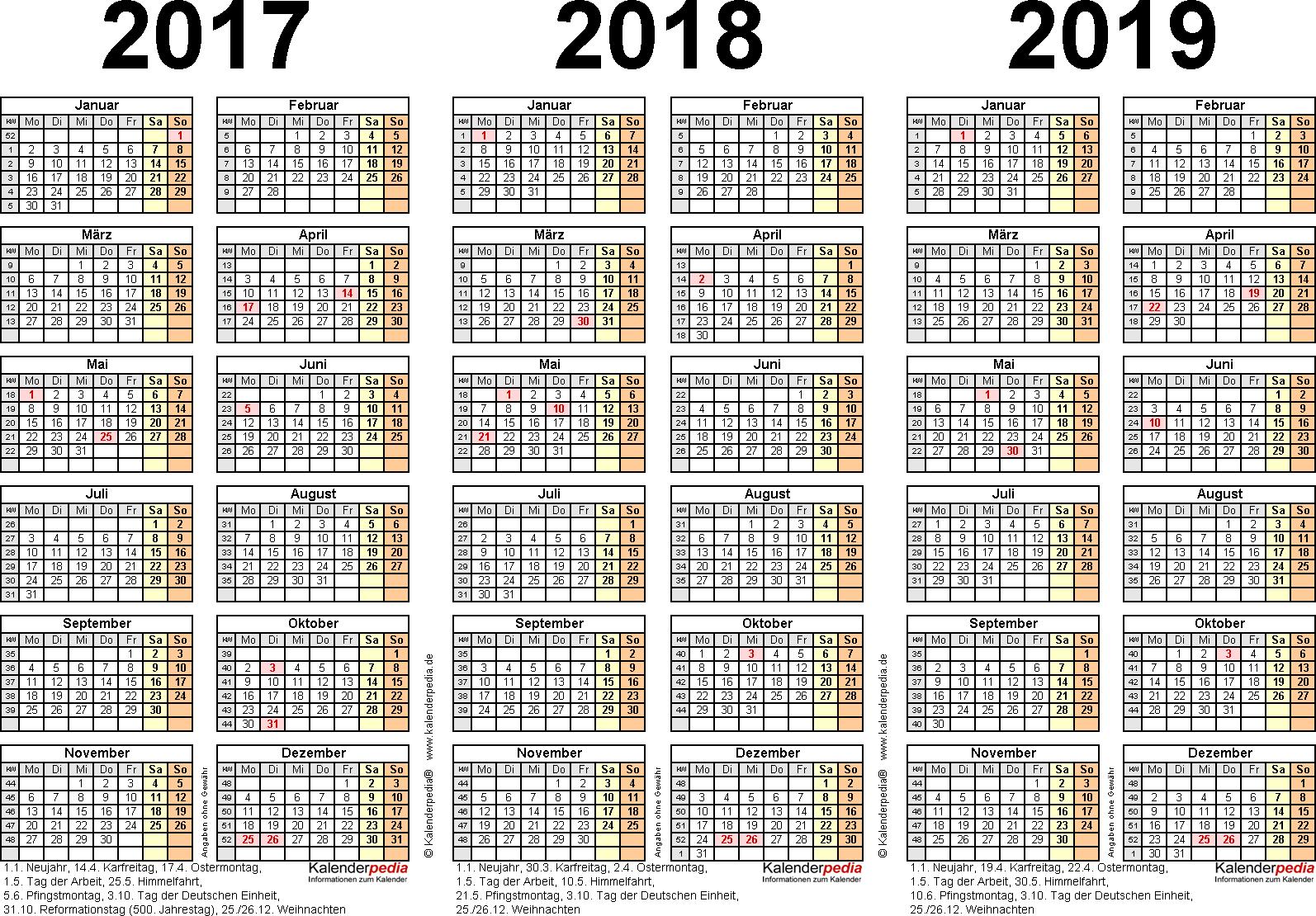 Excel-Vorlage für Dreijahreskalender 2017/2018/2019 (Querformat, 1 Seite)
