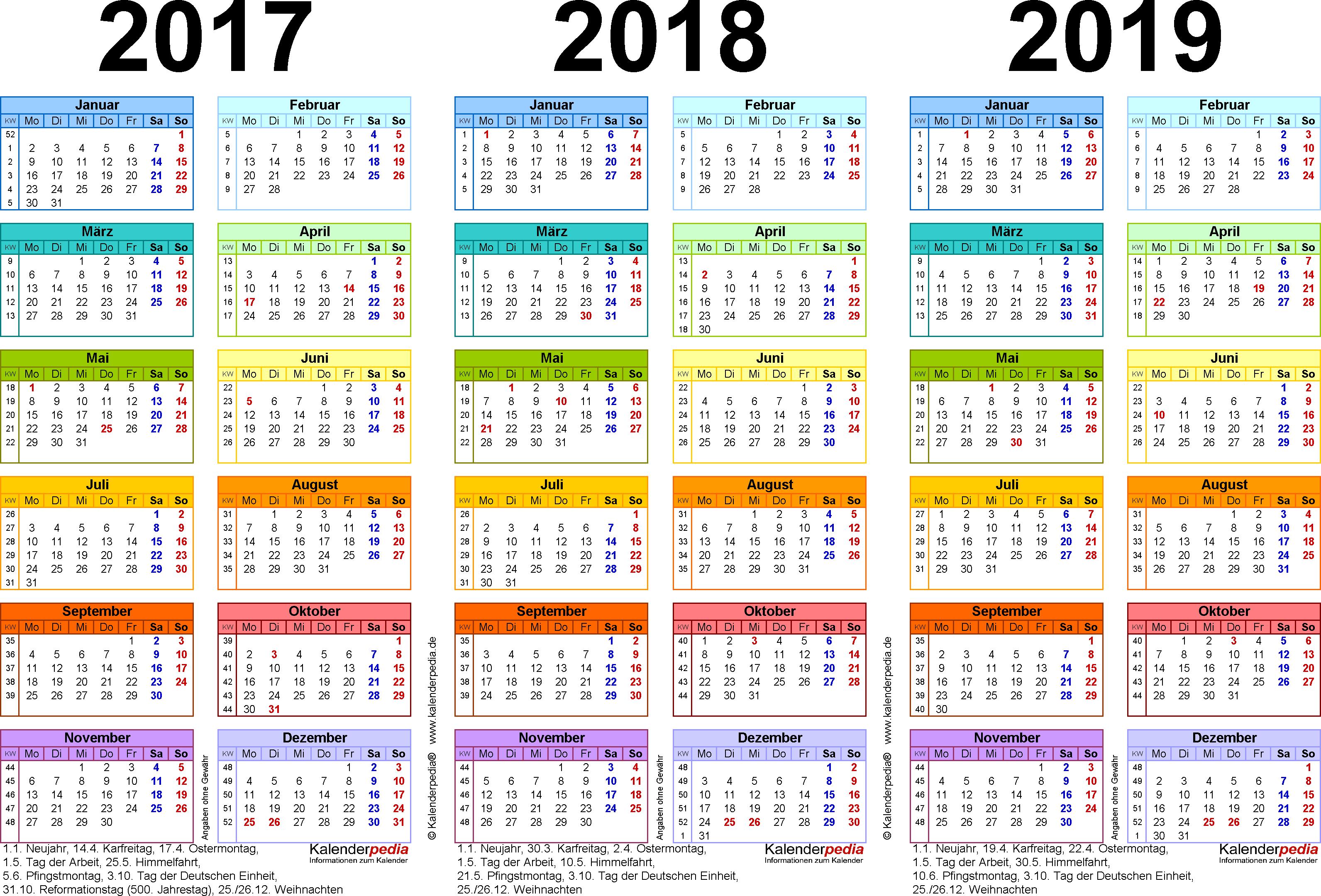 PDF-Vorlage für Dreijahreskalender 2017-2019 (Querformat, 1 Seite, in Farbe)