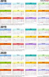 PDF-Vorlage für Dreijahreskalender 2018-2020 (Hochformat, 1 Seite, in Farbe)