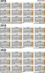 Excel-Vorlage für Dreijahreskalender 2018-2020 (Hochformat, 1 Seite)