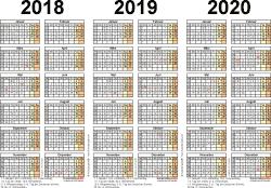 PDF-Vorlage für Dreijahreskalender 2018-2020 (Querformat, 1 Seite)