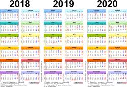 Word-Vorlage für Dreijahreskalender 2018-2020 (Querformat, 1 Seite, in Farbe)