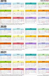 Excel-Vorlage für Dreijahreskalender 2019-2021 (Hochformat, 1 Seite, in Farbe)