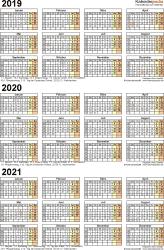 PDF-Vorlage für Dreijahreskalender 2019-2021 (Hochformat, 1 Seite)