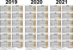Excel-Vorlage für Dreijahreskalender 2019-2021 (Querformat, 1 Seite)