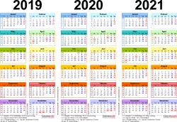 Excel-Vorlage für Dreijahreskalender 2019-2021 (Querformat, 1 Seite, in Farbe)