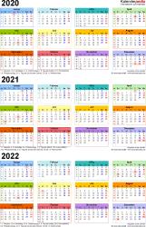 Word-Vorlage für Dreijahreskalender 2020-2022 (Hochformat, 1 Seite, in Farbe)