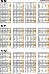 Word-Vorlage für Dreijahreskalender 2020-2022 (Hochformat, 1 Seite)