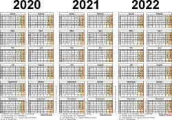 Word-Vorlage für Dreijahreskalender 2020-2022 (Querformat, 1 Seite)