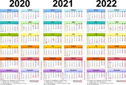 Word-Vorlage für Dreijahreskalender 2020-2022 (Querformat, 1 Seite, in Farbe)